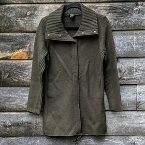 Eileen Fisher Army Green Snap Front Wool Jacket